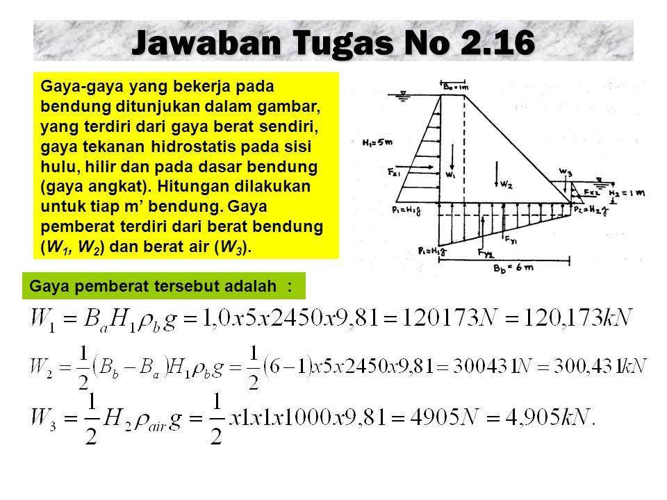 Jawaban Tugas No 2.16 Gaya pemberat tersebut adalah : Gaya-gaya yang bekerja pada bendung ditunjukan dalam gambar, yang terdiri dari gaya berat sendiri, gaya tekanan hidrostatis pada sisi hulu, hilir dan pada dasar bendung (gaya angkat).