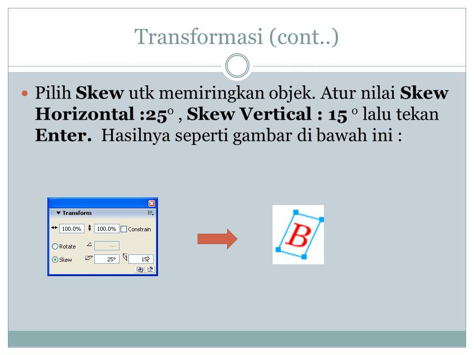 Transformasi (cont..)  Pilih Skew utk memiringkan objek.