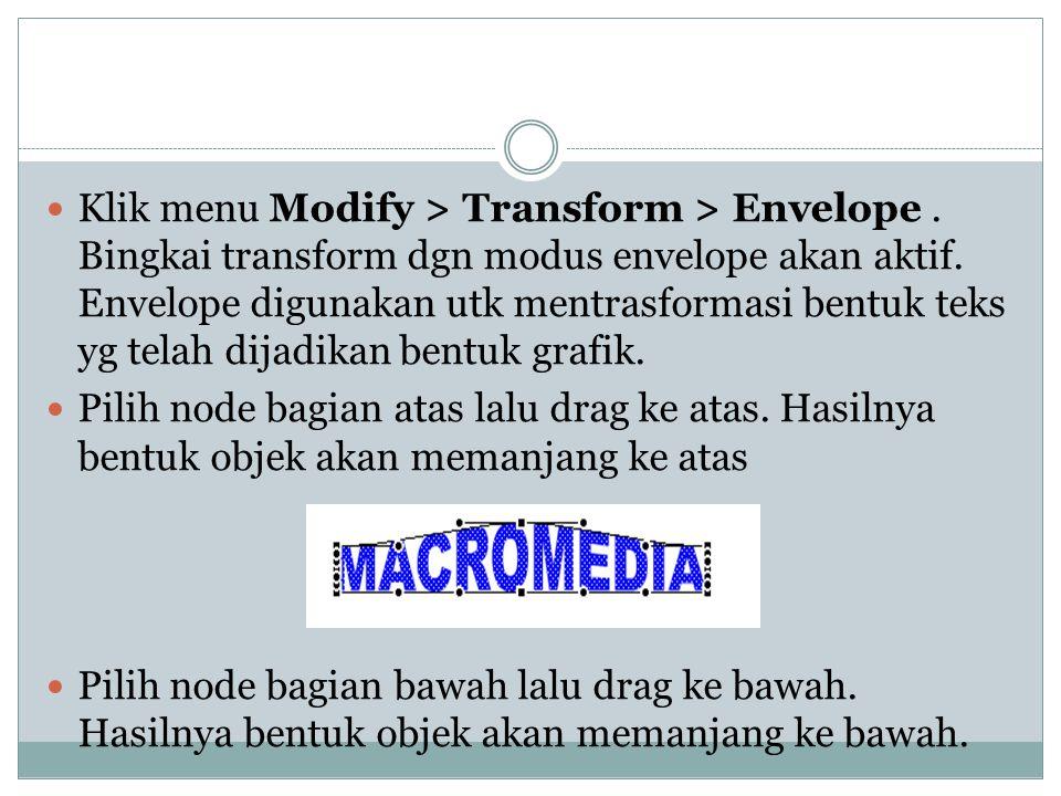  Klik menu Modify > Transform > Envelope.Bingkai transform dgn modus envelope akan aktif.