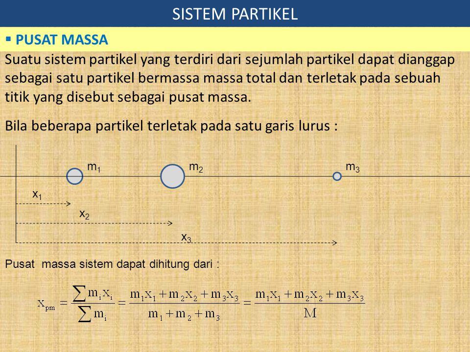 SISTEM PARTIKEL  PUSAT MASSA Suatu sistem partikel yang terdiri dari sejumlah partikel dapat dianggap sebagai satu partikel bermassa massa total dan