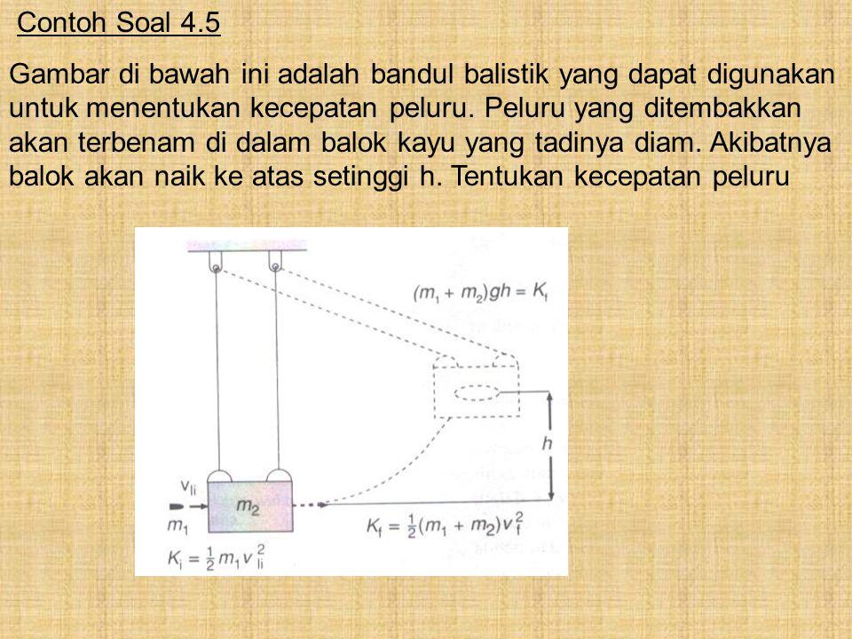 Contoh Soal 4.5 Gambar di bawah ini adalah bandul balistik yang dapat digunakan untuk menentukan kecepatan peluru. Peluru yang ditembakkan akan terben