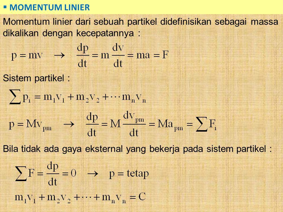  MOMENTUM LINIER Momentum linier dari sebuah partikel didefinisikan sebagai massa dikalikan dengan kecepatannya : Sistem partikel : Bila tidak ada ga