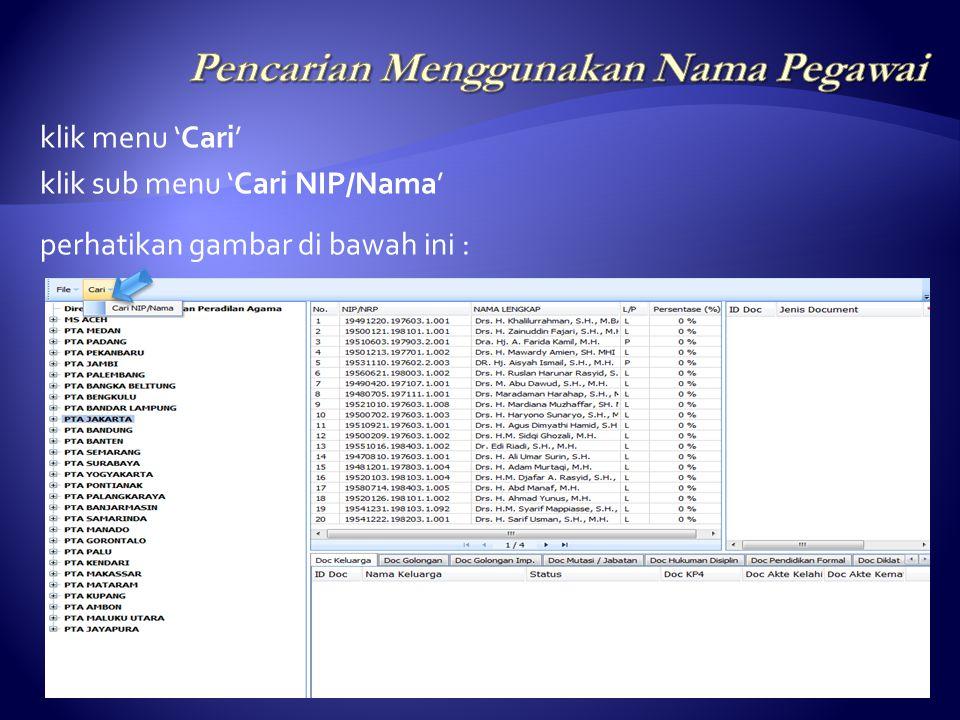 Untuk melihat list detail data pegawai, klik NIP atau Nama Lengkap pegawai, seperti tampak pada gambar di bawah ini :