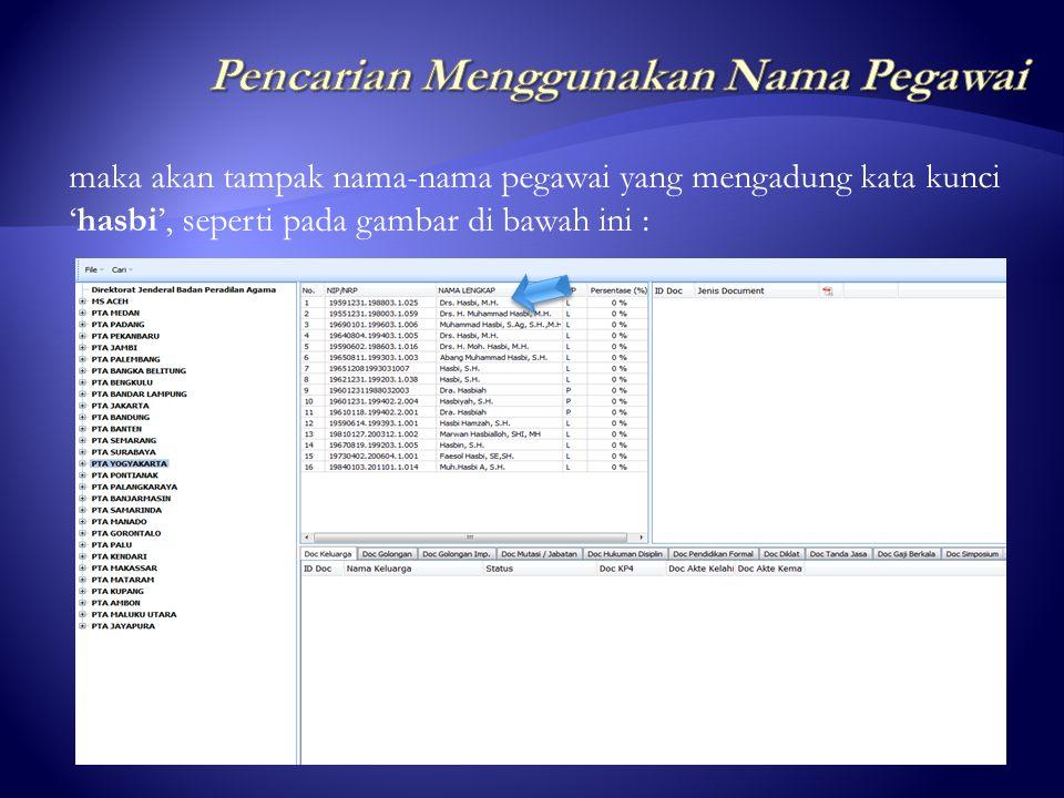 ketik Nama pegawai yang akan dicari, misal : hasbi klik 'Cari' Setelah muncul tampilan search engine seperti dibawah ini :