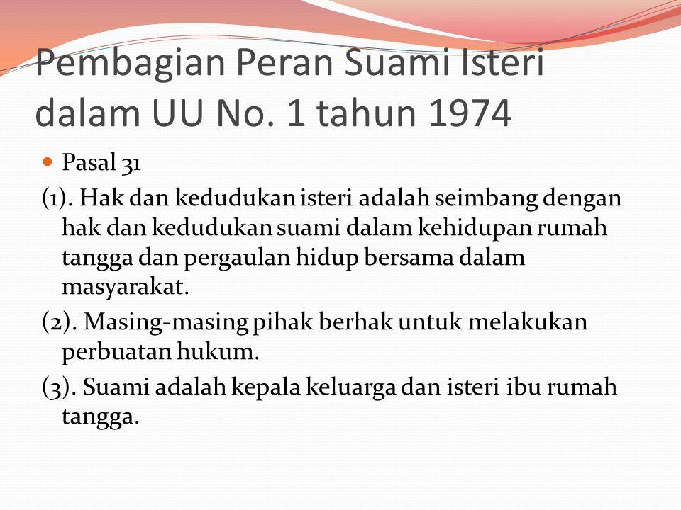 Pembagian Peran Suami Isteri dalam UU No. 1 tahun 1974  Pasal 31 (1).