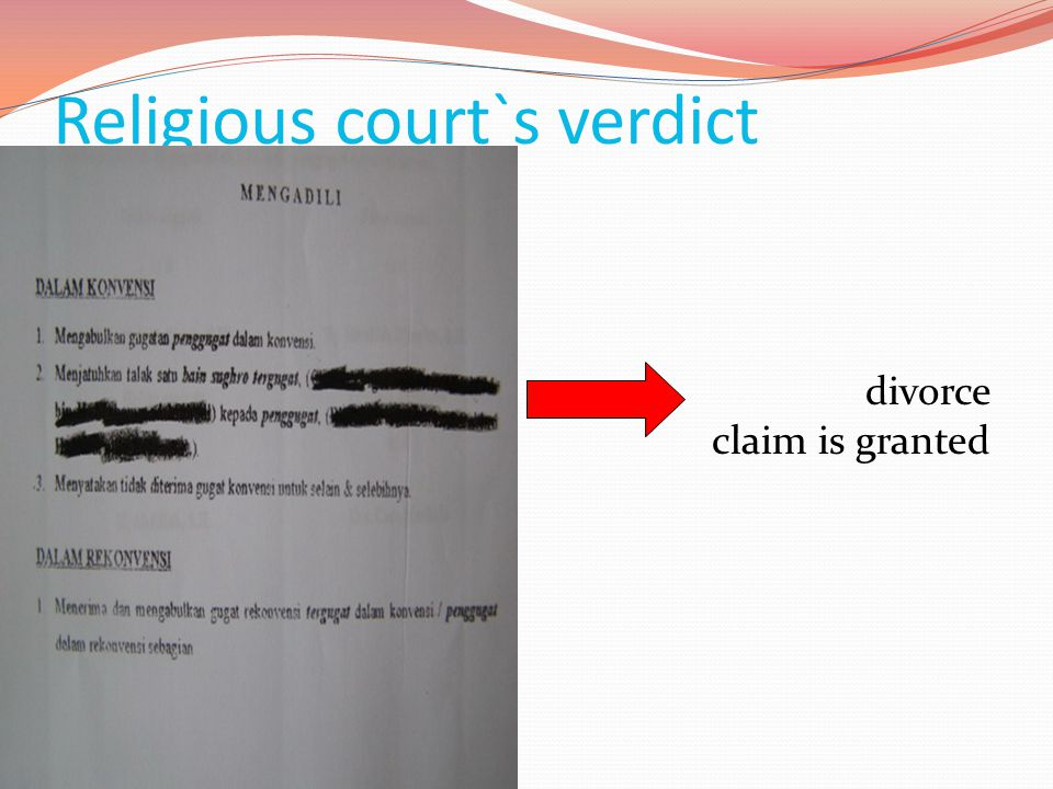 Religious court`s verdict divorce claim is granted