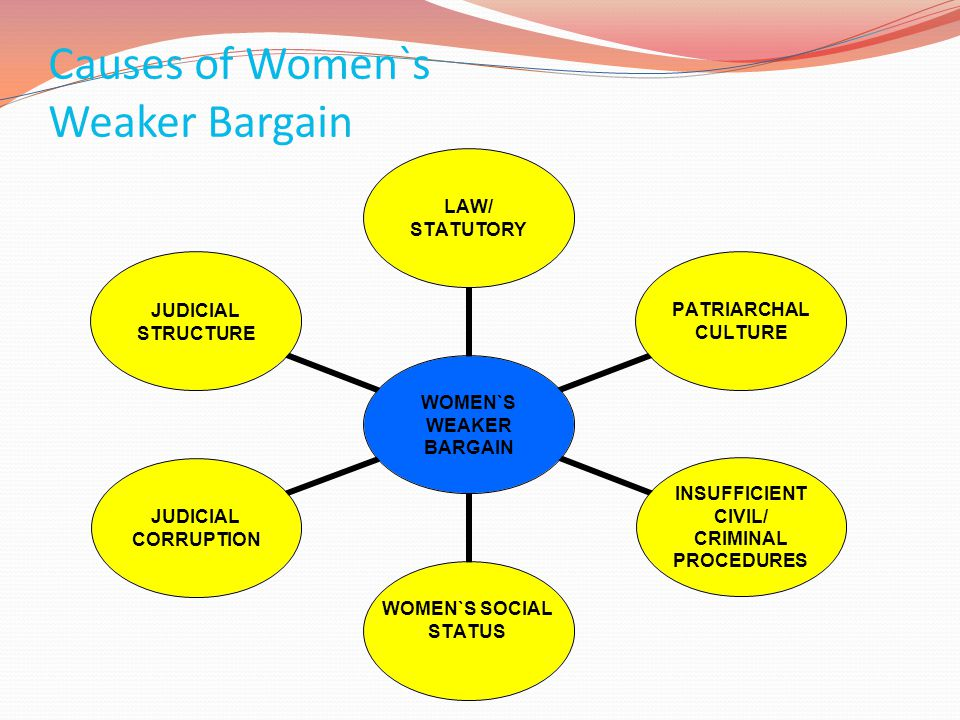 Causes of Women`s Weaker Bargain WOMEN`S WEAKER BARGAIN LAW/ STATUTORY PATRIARCHAL CULTURE INSUFFICIENT CIVIL/ CRIMINAL PROCEDURES WOMEN`S SOCIAL STAT