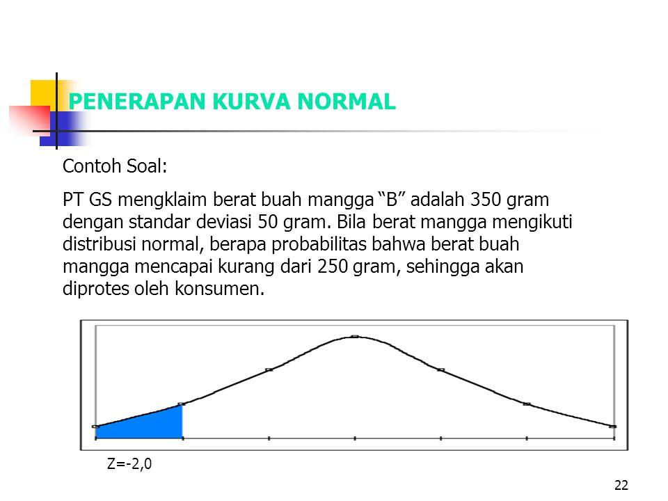 "22 PENERAPAN KURVA NORMAL Contoh Soal: PT GS mengklaim berat buah mangga ""B"" adalah 350 gram dengan standar deviasi 50 gram. Bila berat mangga mengiku"