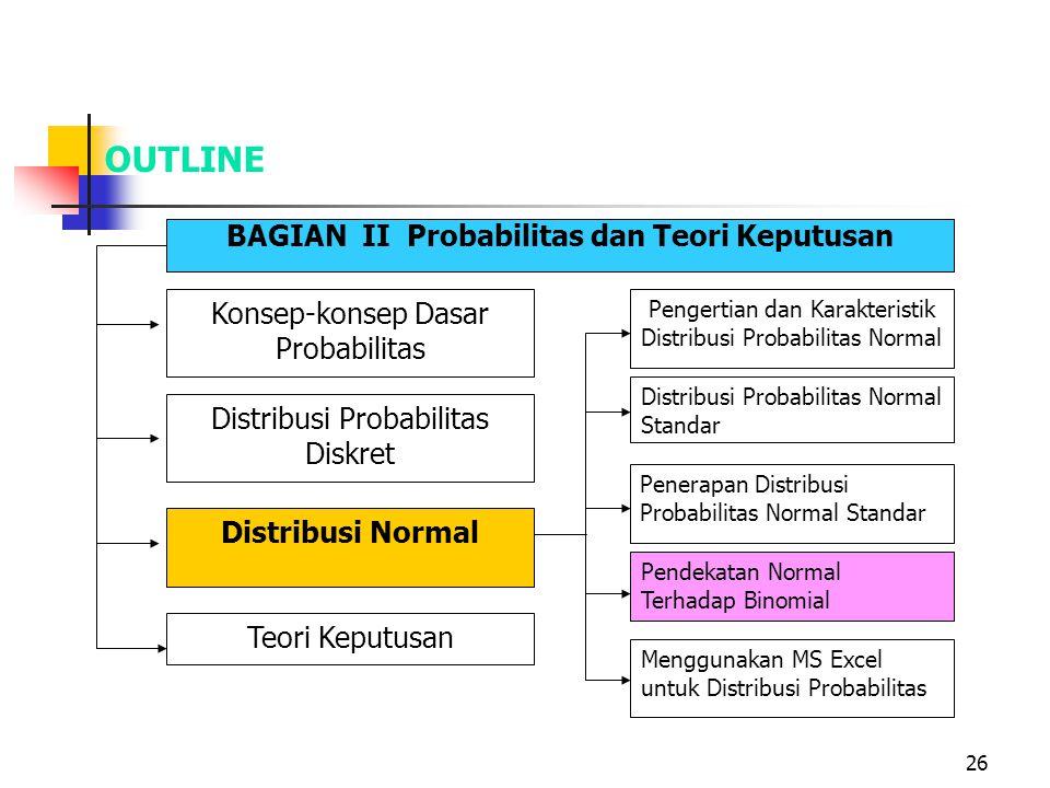26 OUTLINE BAGIAN II Probabilitas dan Teori Keputusan Konsep-konsep Dasar Probabilitas Distribusi Probabilitas Diskret Distribusi Normal Teori Keputus