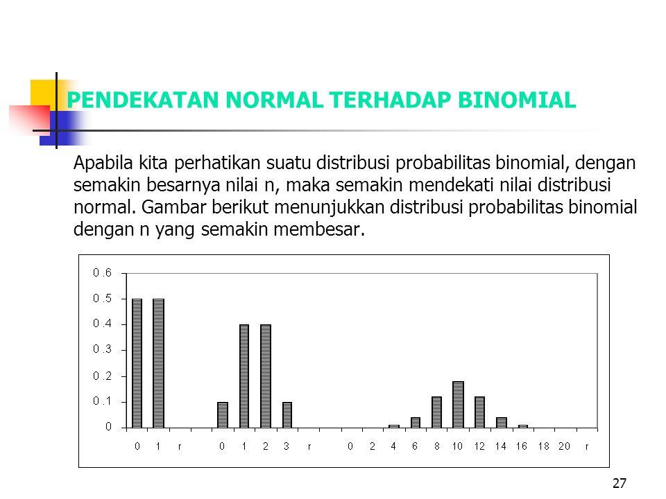 27 PENDEKATAN NORMAL TERHADAP BINOMIAL Apabila kita perhatikan suatu distribusi probabilitas binomial, dengan semakin besarnya nilai n, maka semakin m