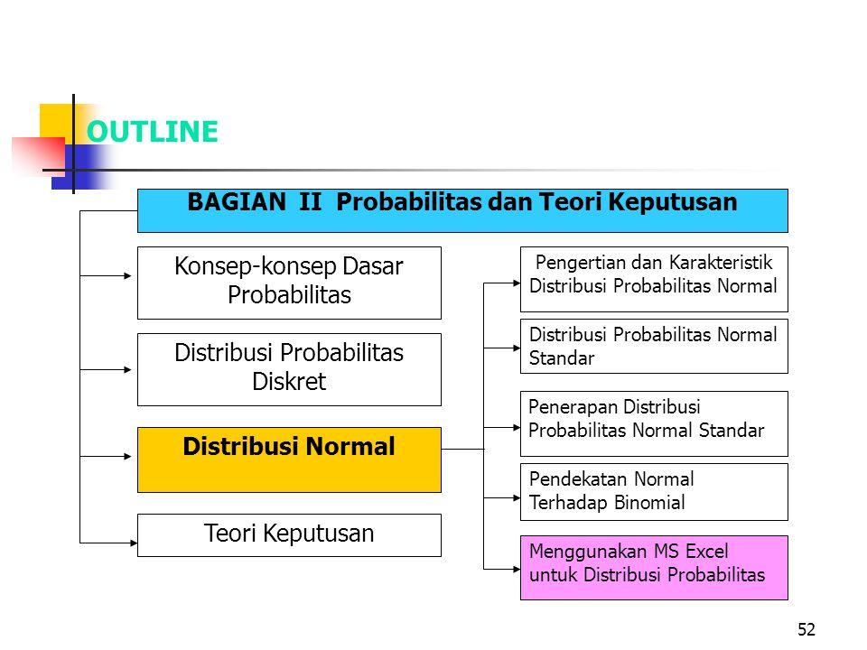 52 OUTLINE BAGIAN II Probabilitas dan Teori Keputusan Konsep-konsep Dasar Probabilitas Distribusi Probabilitas Diskret Distribusi Normal Teori Keputus