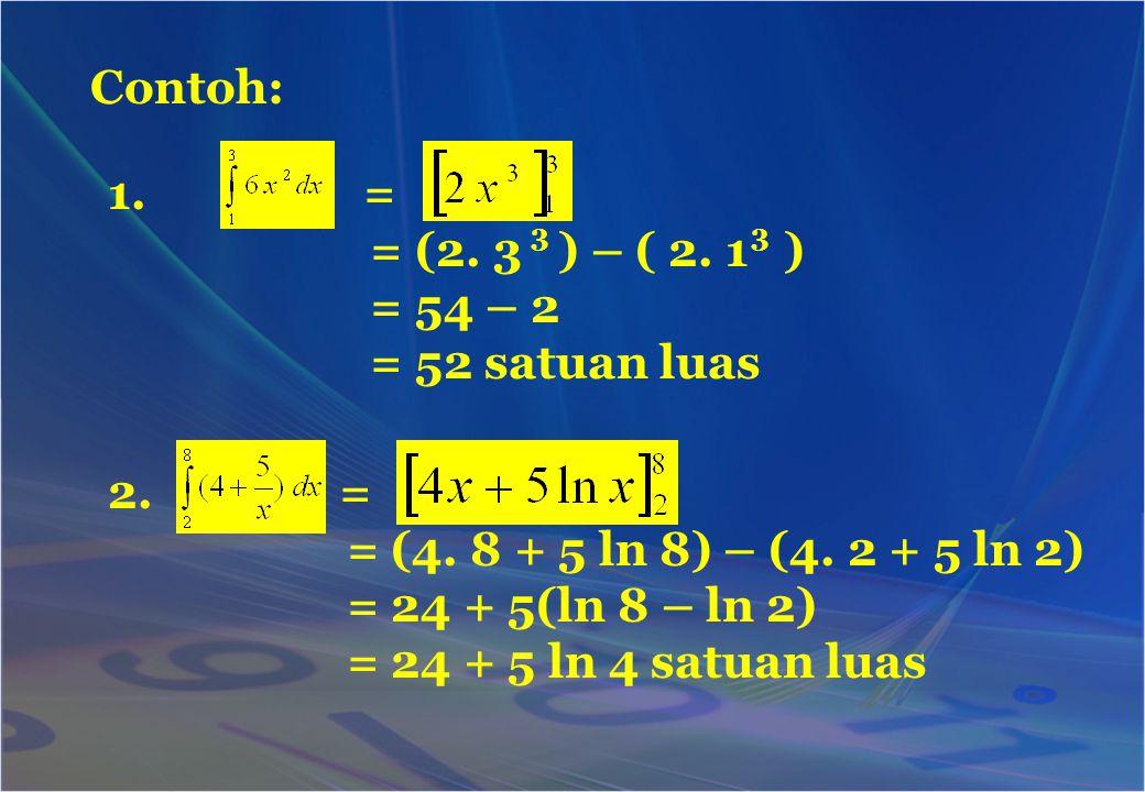 Contoh: 1. = = (2. 3 ) – ( 2. 1 ) = 54 – 2 = 52 satuan luas 33 2. = = (4. 8 + 5 ln 8) – (4. 2 + 5 ln 2) = 24 + 5(ln 8 – ln 2) = 24 + 5 ln 4 satuan lua