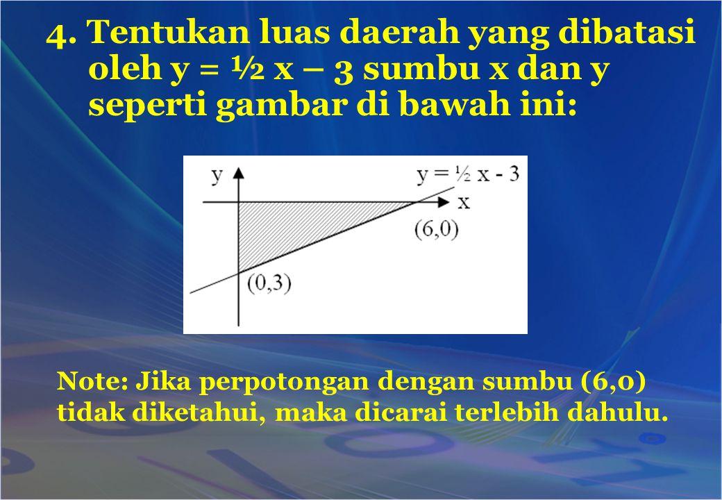 4. Tentukan luas daerah yang dibatasi oleh y = ½ x – 3 sumbu x dan y seperti gambar di bawah ini: Note: Jika perpotongan dengan sumbu (6,0) tidak dike
