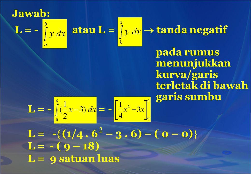 Jawab: L = - atau L =  tanda negatif pada rumus menunjukkan kurva/garis terletak di bawah garis sumbu L = - = - L = -  (1/4. 6 – 3. 6) – ( 0 – 0) 