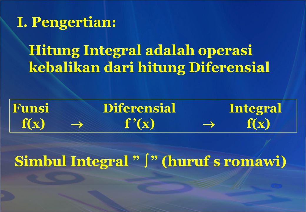 """I. Pengertian: Hitung Integral adalah operasi kebalikan dari hitung Diferensial Funsi Diferensial Integral f(x)  f '(x)  f(x) Simbul Integral """"  """""""