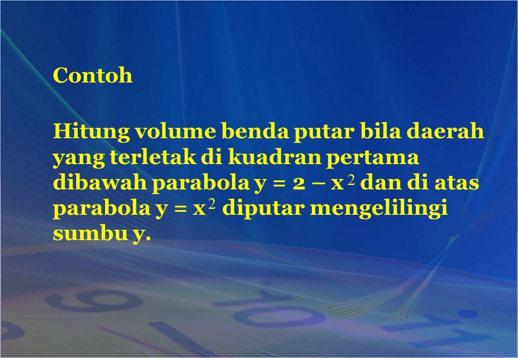Contoh Hitung volume benda putar bila daerah yang terletak di kuadran pertama dibawah parabola y = 2 – x dan di atas parabola y = x diputar mengelilin
