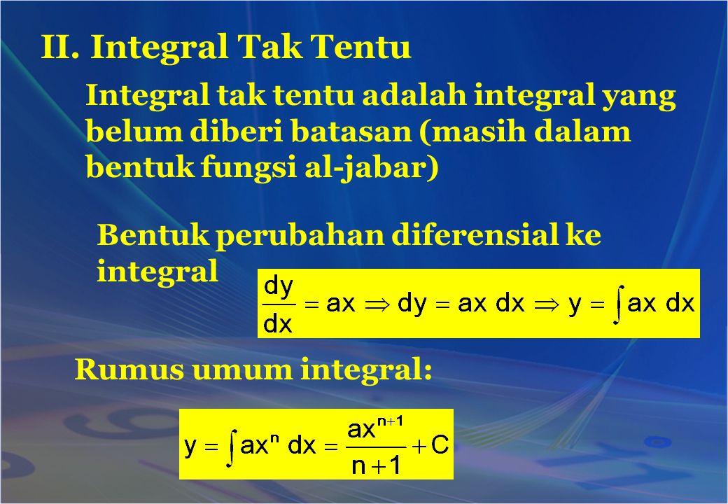 II. Integral Tak Tentu Integral tak tentu adalah integral yang belum diberi batasan (masih dalam bentuk fungsi al-jabar) Bentuk perubahan diferensial