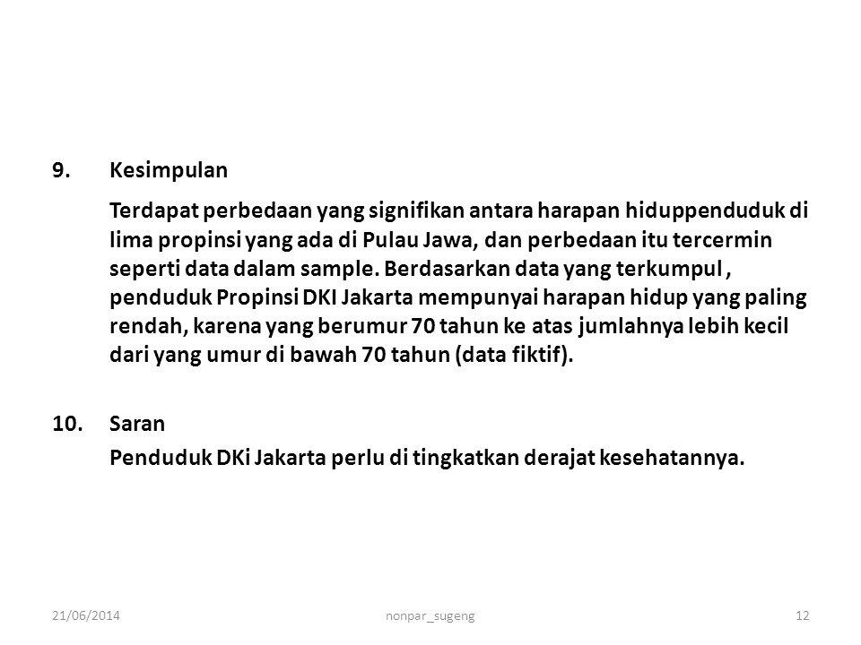 9.Kesimpulan Terdapat perbedaan yang signifikan antara harapan hiduppenduduk di lima propinsi yang ada di Pulau Jawa, dan perbedaan itu tercermin sepe