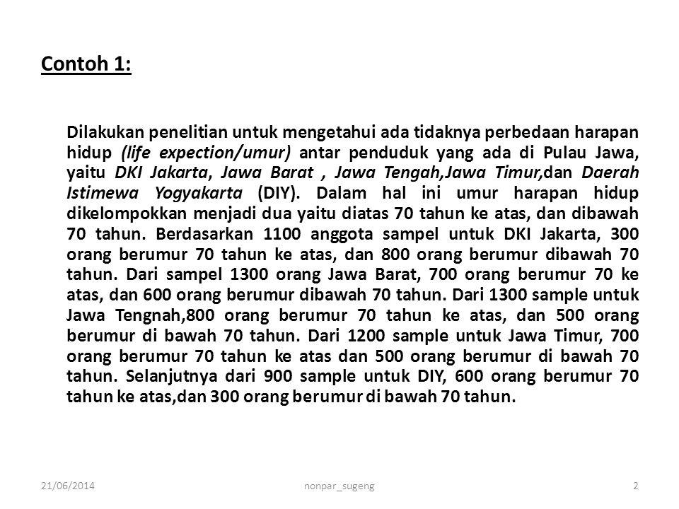 Contoh 1: Dilakukan penelitian untuk mengetahui ada tidaknya perbedaan harapan hidup (life expection/umur) antar penduduk yang ada di Pulau Jawa, yait