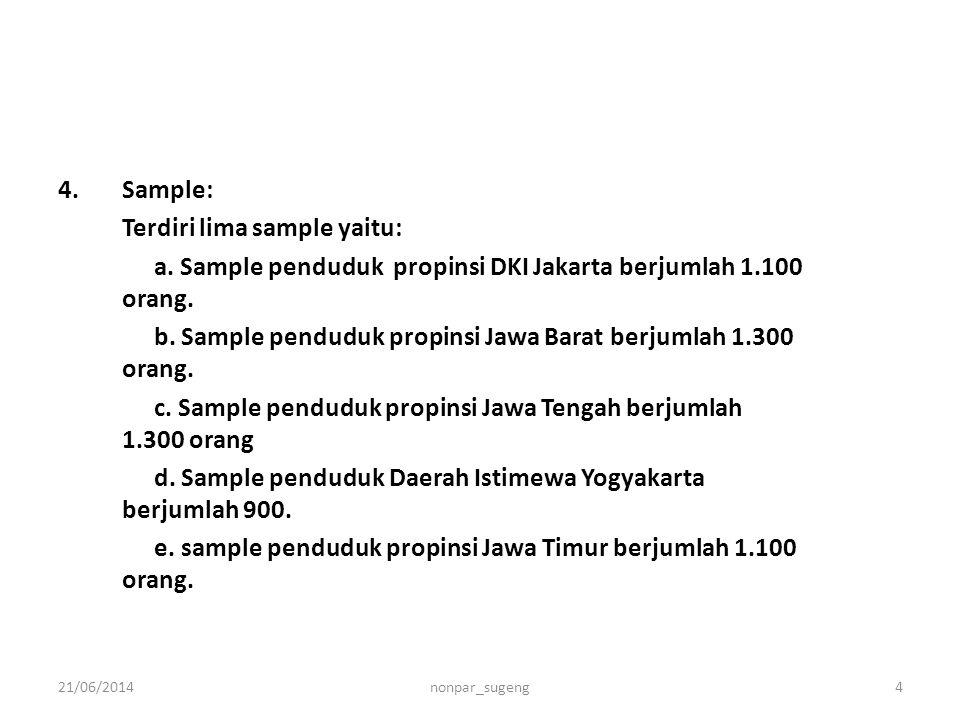 4.Sample: Terdiri lima sample yaitu: a. Sample penduduk propinsi DKI Jakarta berjumlah 1.100 orang. b. Sample penduduk propinsi Jawa Barat berjumlah 1