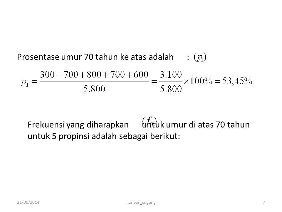 Prosentase umur 70 tahun ke atas adalah : Frekuensi yang diharapkan untuk umur di atas 70 tahun untuk 5 propinsi adalah sebagai berikut: 21/06/20147no