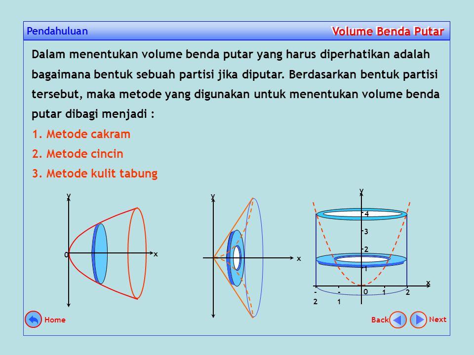 Pendahuluan Volume Benda Putar Volume Benda Putar Suatu daerah jika di putar mengelilingi garis tertentu sejauh 360º, maka akan terbentuk suatu benda putar.