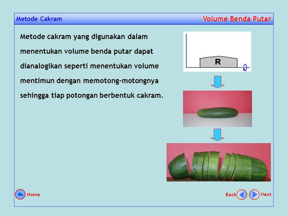 Pendahuluan Volume Benda Putar Volume Benda Putar Dalam menentukan volume benda putar yang harus diperhatikan adalah bagaimana bentuk sebuah partisi jika diputar.