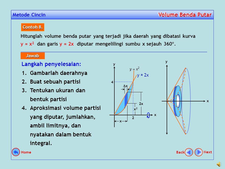 Metode Cincin Volume Benda Putar Volume Benda Putar Menghitung volume benda putar dengan menggunakan metode cincin dilakukan dengan memanfaatkan rumus volume cincin seperti gambar di samping, yaitu V=  (R 2 – r 2 )h h r R Next Back Home dan
