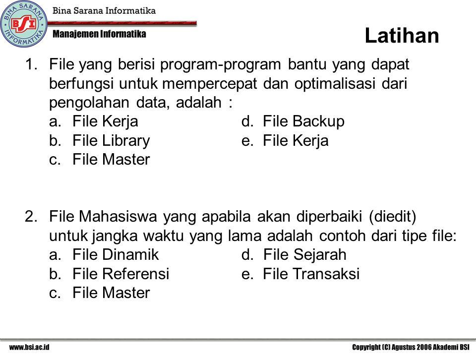 1.File yang berisi program-program bantu yang dapat berfungsi untuk mempercepat dan optimalisasi dari pengolahan data, adalah : a. File Kerjad. File B