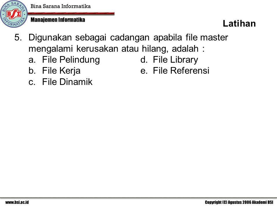 5.Digunakan sebagai cadangan apabila file master mengalami kerusakan atau hilang, adalah : a. File Pelindungd. File Library b. File Kerjae. File Refer