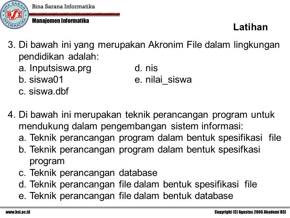 3.Di bawah ini yang merupakan Akronim File dalam lingkungan pendidikan adalah: a.Inputsiswa.prgd.nis b. siswa01e.nilai_siswa c. siswa.dbf 4.Di bawah i