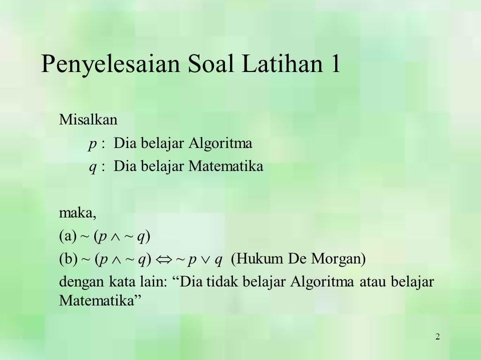 2 Penyelesaian Soal Latihan 1 Misalkan p : Dia belajar Algoritma q : Dia belajar Matematika maka, (a) ~ (p  ~ q) (b) ~ (p  ~ q)  ~ p  q (Hukum De