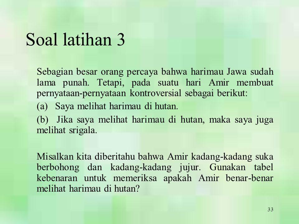 33 Soal latihan 3 Sebagian besar orang percaya bahwa harimau Jawa sudah lama punah. Tetapi, pada suatu hari Amir membuat pernyataan-pernyataan kontrov