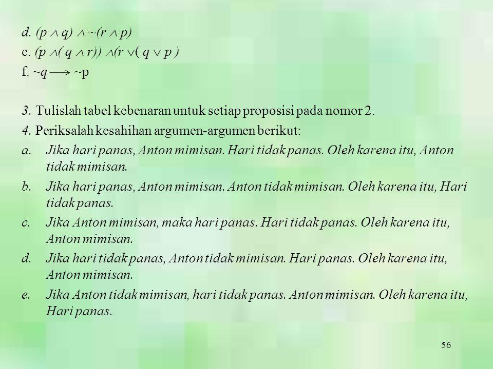 56 d. (p  q)  ~(r  p) e. (p  ( q  r))  (r  ( q  p ) f. ~q ~p 3. Tulislah tabel kebenaran untuk setiap proposisi pada nomor 2. 4. Periksalah ke