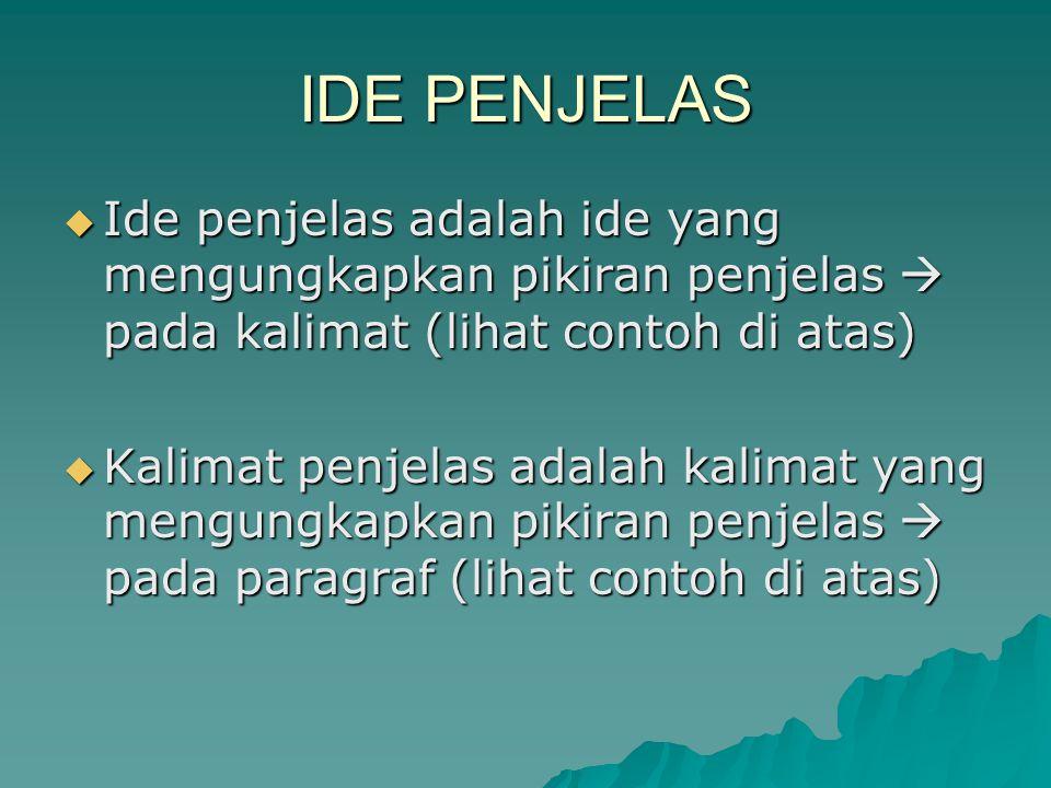 IDE PENJELAS  Ide penjelas adalah ide yang mengungkapkan pikiran penjelas  pada kalimat (lihat contoh di atas)  Kalimat penjelas adalah kalimat yan