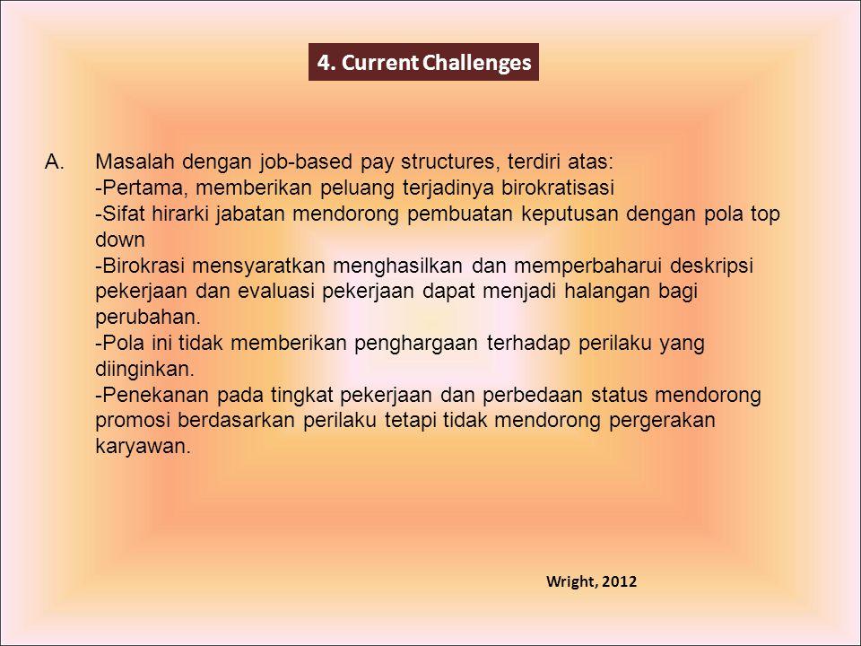 4. Current Challenges Masalah dengan job-based pay structures, terdiri atas: -Pertama, memberikan peluang terjadinya birokratisasi -Sifat hirarki jaba