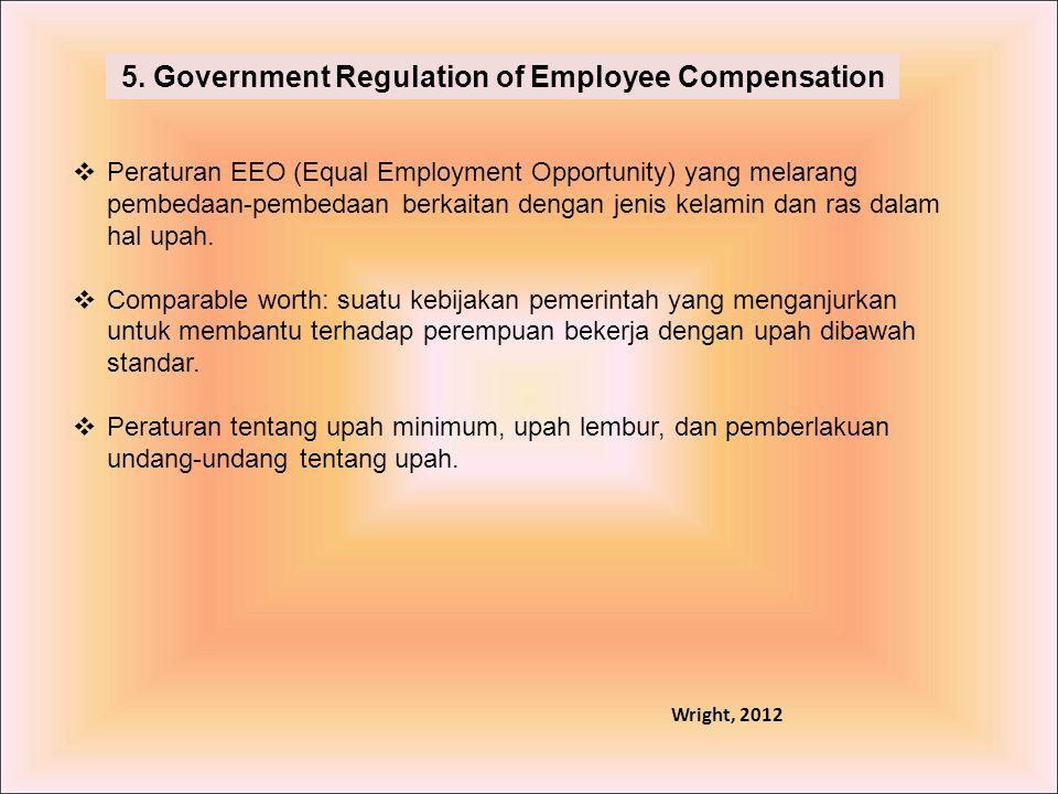 5. Government Regulation of Employee Compensation  Peraturan EEO (Equal Employment Opportunity) yang melarang pembedaan-pembedaan berkaitan dengan je