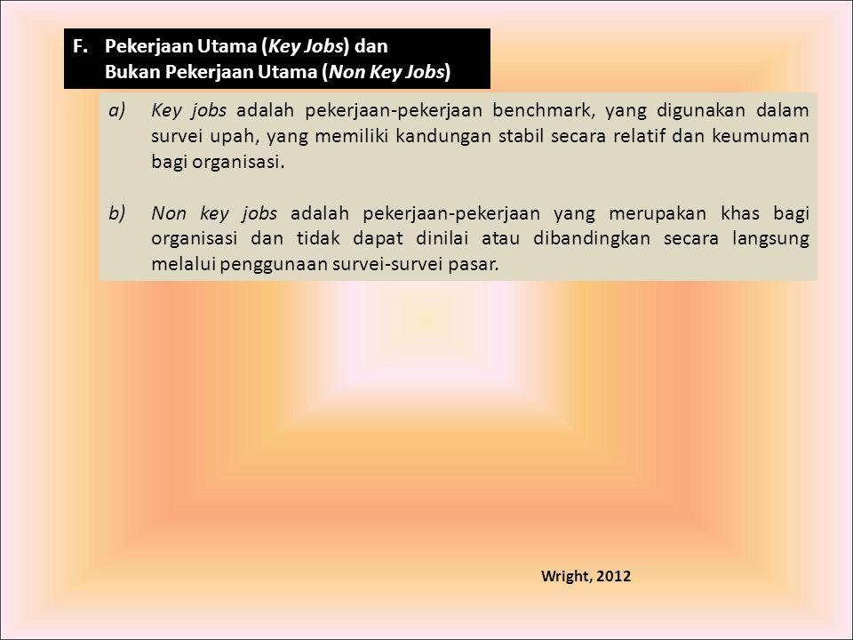F.Pekerjaan Utama (Key Jobs) dan Bukan Pekerjaan Utama (Non Key Jobs) a)Key jobs adalah pekerjaan-pekerjaan benchmark, yang digunakan dalam survei upa