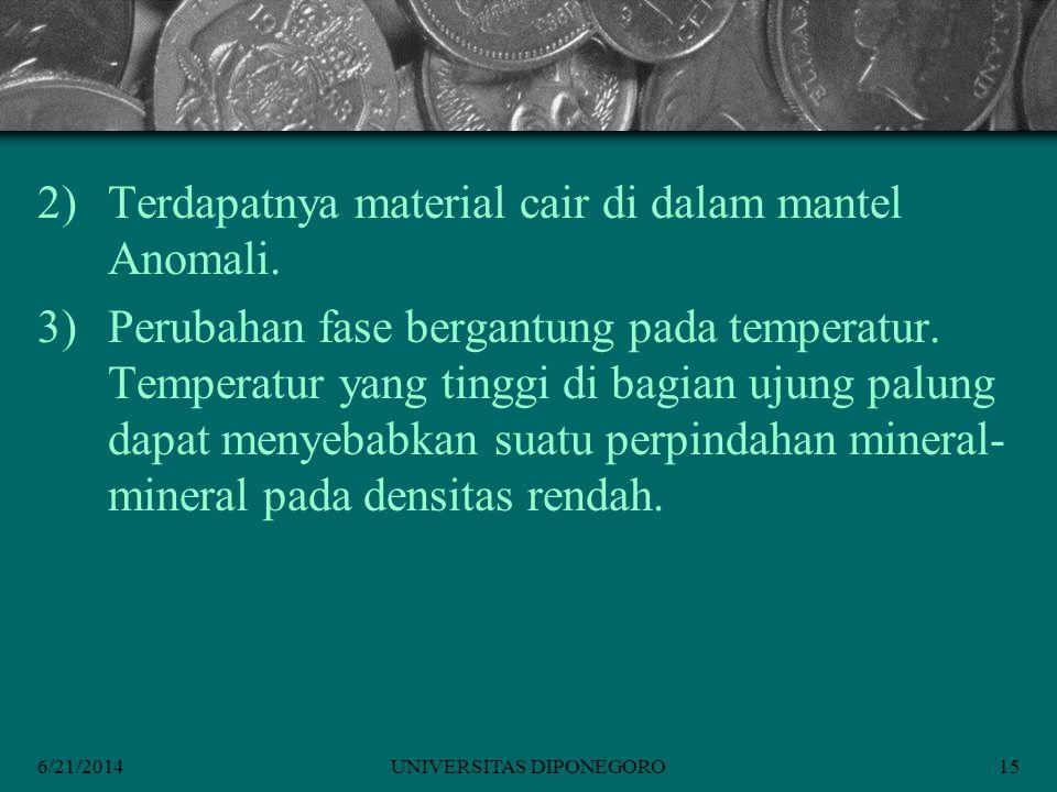 6/21/2014UNIVERSITAS DIPONEGORO15 2)Terdapatnya material cair di dalam mantel Anomali.