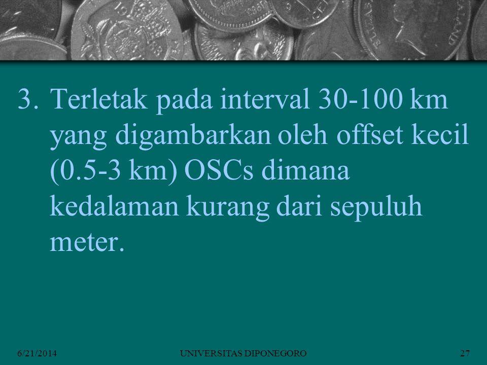 6/21/2014UNIVERSITAS DIPONEGORO27 3.Terletak pada interval 30-100 km yang digambarkan oleh offset kecil (0.5-3 km) OSCs dimana kedalaman kurang dari sepuluh meter.
