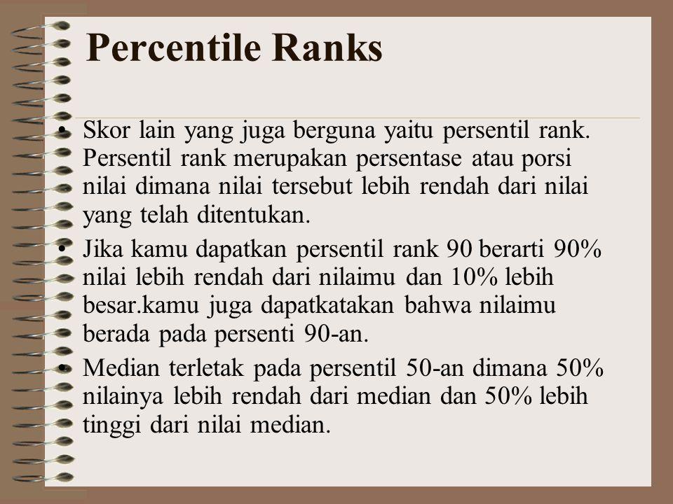 Percentile Ranks •Skor lain yang juga berguna yaitu persentil rank. Persentil rank merupakan persentase atau porsi nilai dimana nilai tersebut lebih r