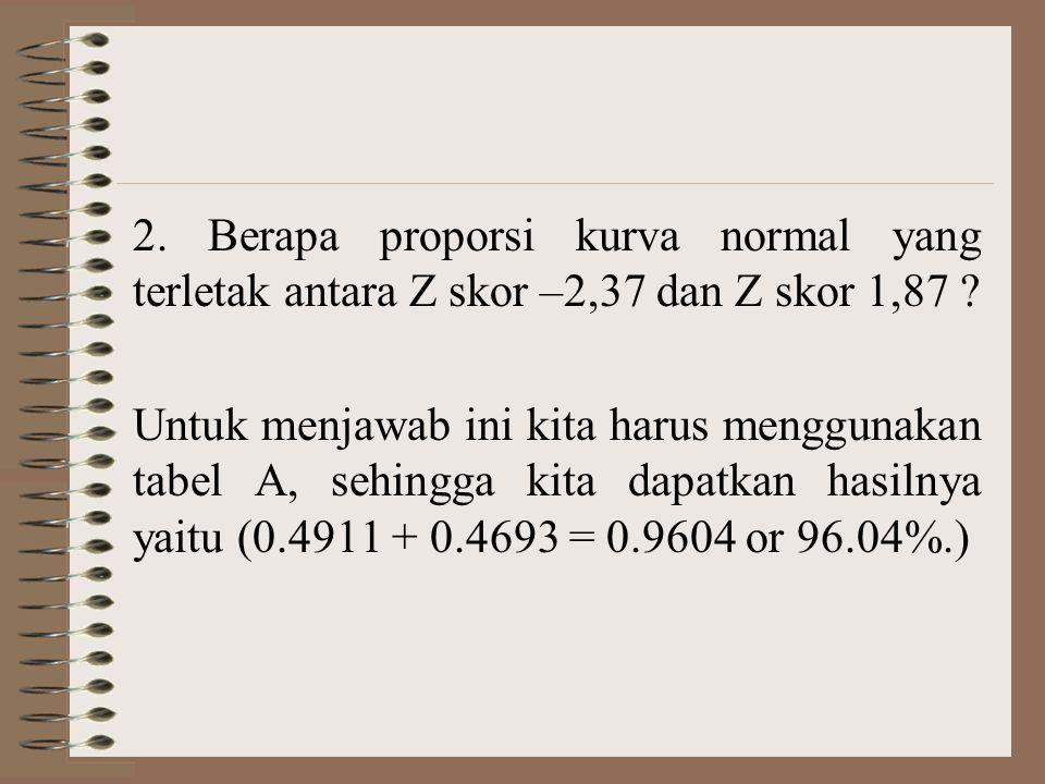 2. Berapa proporsi kurva normal yang terletak antara Z skor –2,37 dan Z skor 1,87 ? Untuk menjawab ini kita harus menggunakan tabel A, sehingga kita d