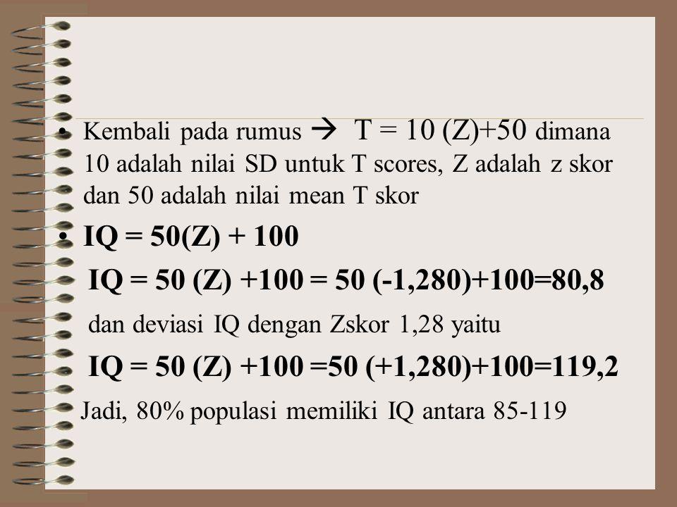 •Kembali pada rumus  T = 10 (Z)+50 dimana 10 adalah nilai SD untuk T scores, Z adalah z skor dan 50 adalah nilai mean T skor •IQ = 50(Z) + 100 IQ = 5