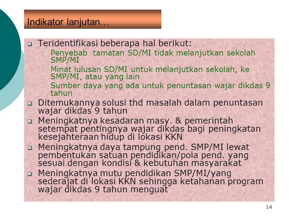 14 Indikator lanjutan…  Teridentifikasi beberapa hal berikut:  Penyebab tamatan SD/MI tidak melanjutkan sekolah SMP/MI  Minat lulusan SD/MI untuk m