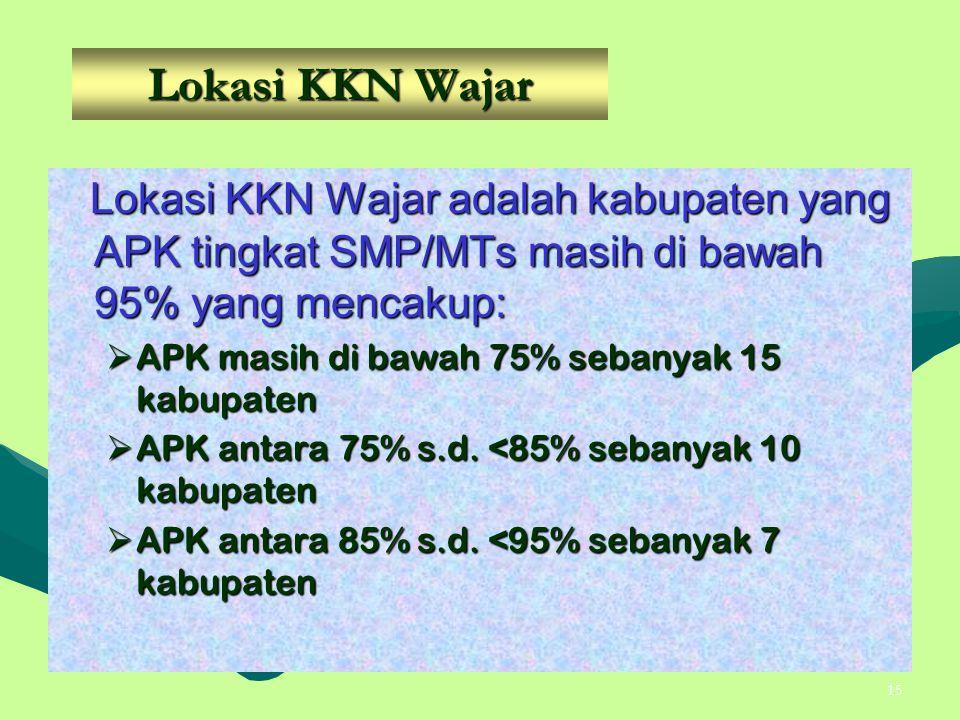 15 Lokasi KKN Wajar Lokasi KKN Wajar adalah kabupaten yang APK tingkat SMP/MTs masih di bawah 95% yang mencakup: Lokasi KKN Wajar adalah kabupaten yan