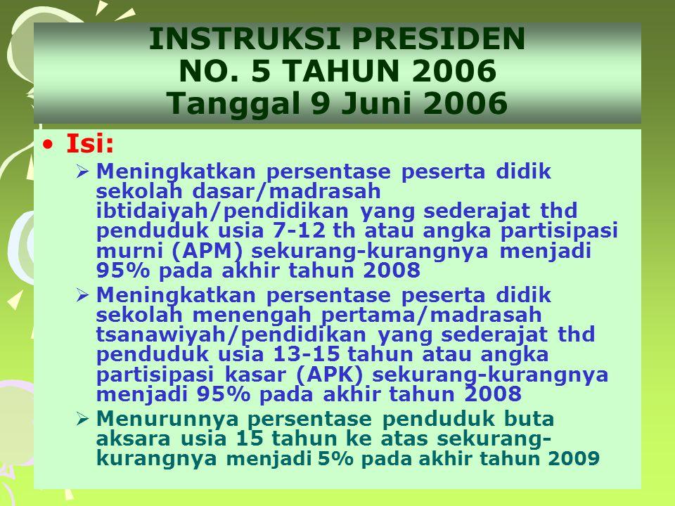 2 INSTRUKSI PRESIDEN NO. 5 TAHUN 2006 Tanggal 9 Juni 2006 •Isi:  Meningkatkan persentase peserta didik sekolah dasar/madrasah ibtidaiyah/pendidikan y
