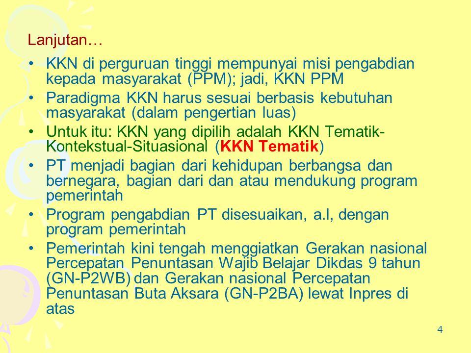 4 Lanjutan… •KKN di perguruan tinggi mempunyai misi pengabdian kepada masyarakat (PPM); jadi, KKN PPM •Paradigma KKN harus sesuai berbasis kebutuhan m