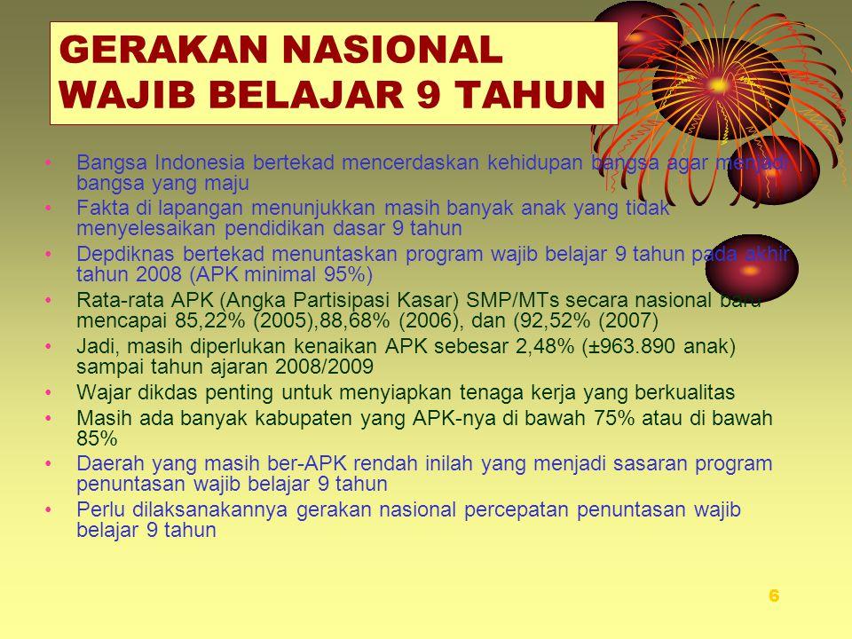 6 GERAKAN NASIONAL WAJIB BELAJAR 9 TAHUN •Bangsa Indonesia bertekad mencerdaskan kehidupan bangsa agar menjadi bangsa yang maju •Fakta di lapangan men