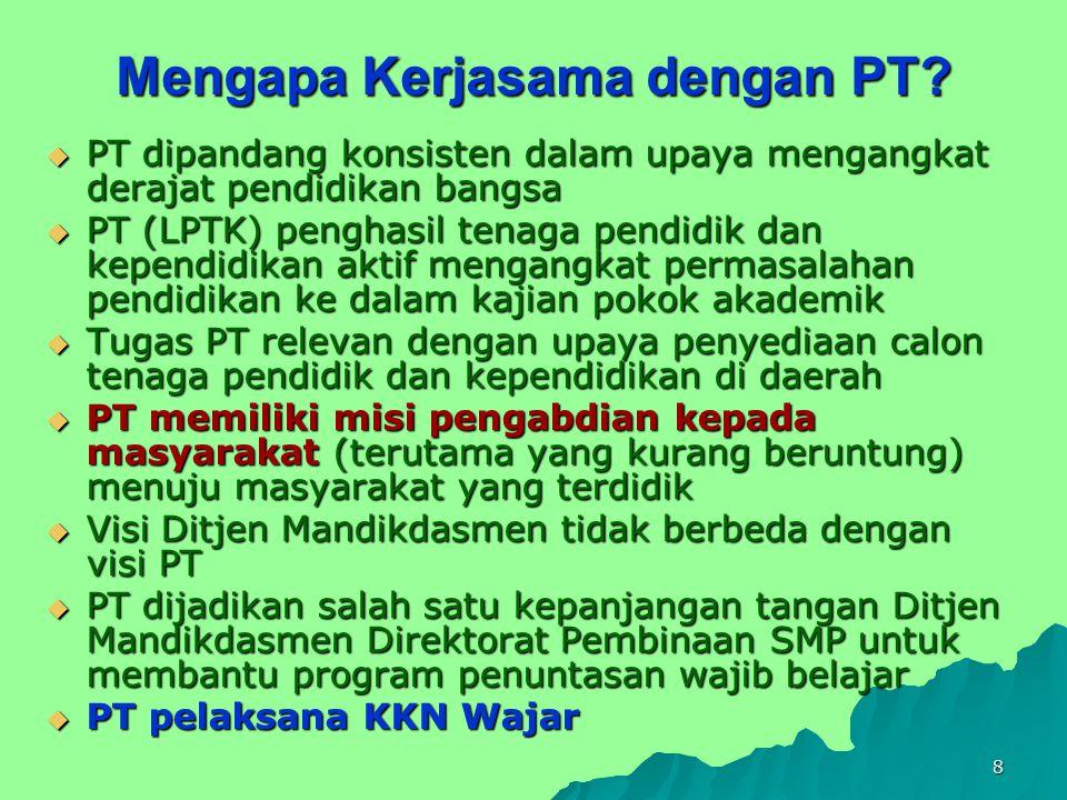 9 KKN WAJAR  KKN Wajar: Kuliah Kerja Nyata Wajib Belajar  KKN Wajar: model pelaksanaan KKN yang program utamanya adalah penuntasan wajib belajar pendidikan dasar sembilan tahun  Pelaksanaan di daerah-daerah yang tingkat APK- nya rendah dan angka absolutnya relatif tinggi  KKN Wajar dilaksanakan PT bekerja sama dengan Direktorat PSMP dan Pemda setempat (ada 15 PT di Indonesia)  Pemda dan PT penyelenggara KKN Wajar haruslah menjalin kemitraan yang sinergis dan saling mendukung