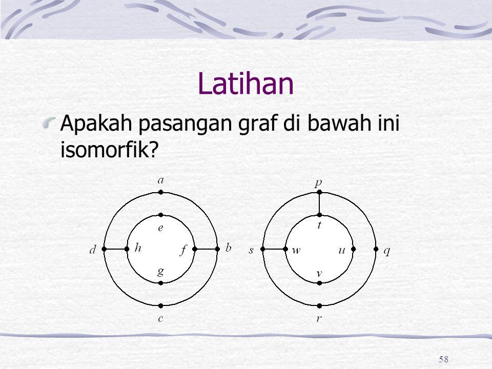 58 Latihan Apakah pasangan graf di bawah ini isomorfik?